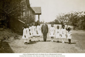 Julius Rosenwald with students from a Rosenwald school. Photo courtesy Fisk University, John Hope and Aurelia R. Franklin Library, Special Collections